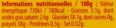 7 chewing-gums parfum cocktail de fruits - Informations nutritionnelles - fr