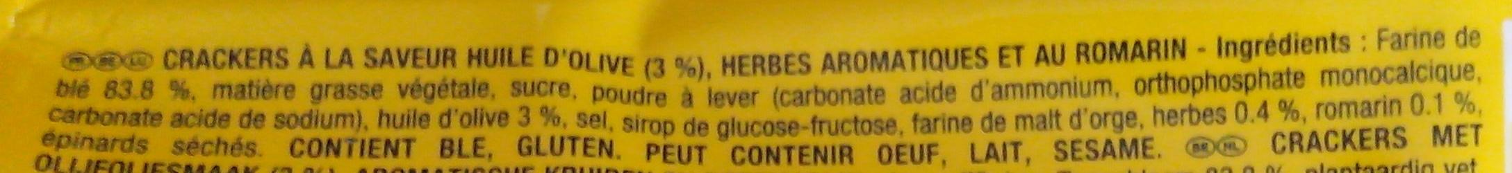 Tuc Break saveur Romarin Huile d'Olive - Ingrediënten