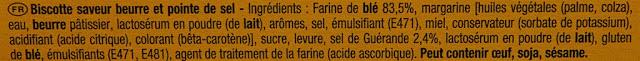 Biscottes La Bretonne - Ingrédients - fr