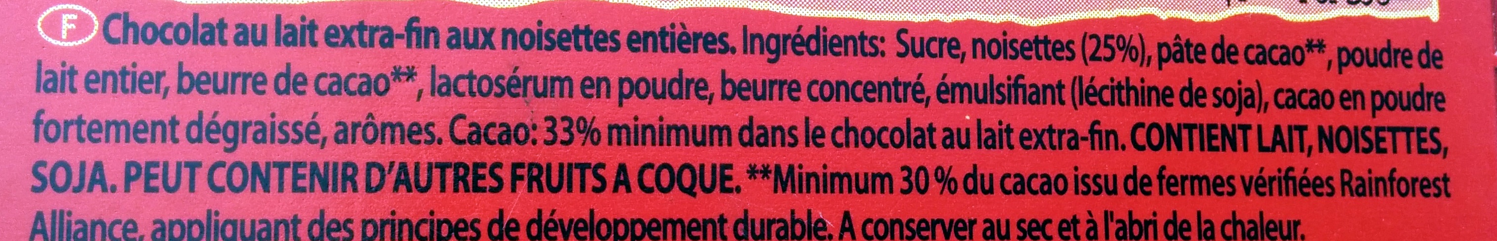 cote d'or lait noisette - Ingredients