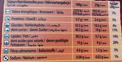 cote d'or lait noisette - Nutrition facts