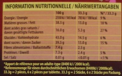 Noir Noisettes - Informations nutritionnelles - fr
