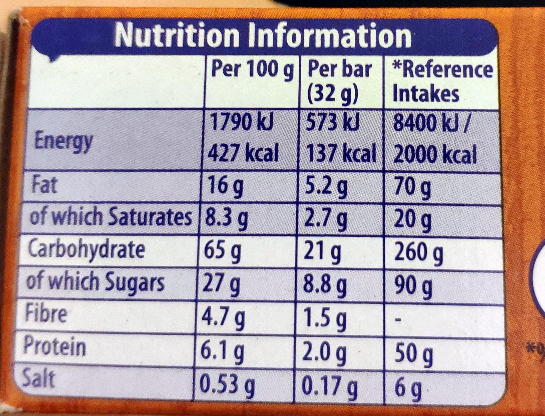 Brunch Bar Choc Chip - Valori nutrizionali - en