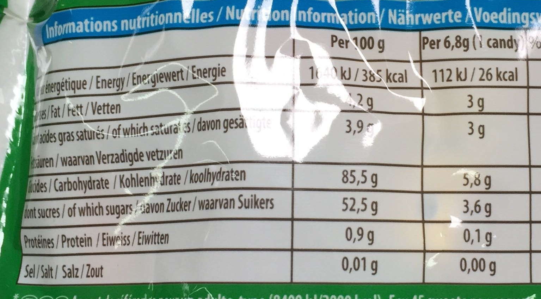 Carambar Goût Fruits - Informations nutritionnelles