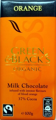 Green & black's organic chocolate bar milk chocolate orange - Product - en