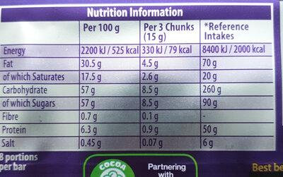 Cadbury Dairy Milk Daim 120G - Nutrition facts - en