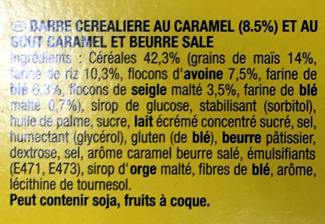 Grany Caramel Beurre Salé - Ingrédients - fr