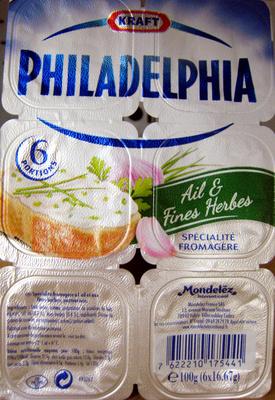 Philadelphia (6 portions) Ail & Fines Herbes (21,5% MG) - 100 g - Kraft - Product - fr