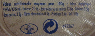 Philadelphia (6 portions) Ail & Fines Herbes (21,5% MG) - 100 g - Kraft - Nutrition facts - fr