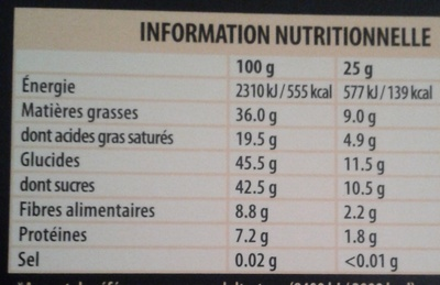 Sésame Noir  - Nutrition facts