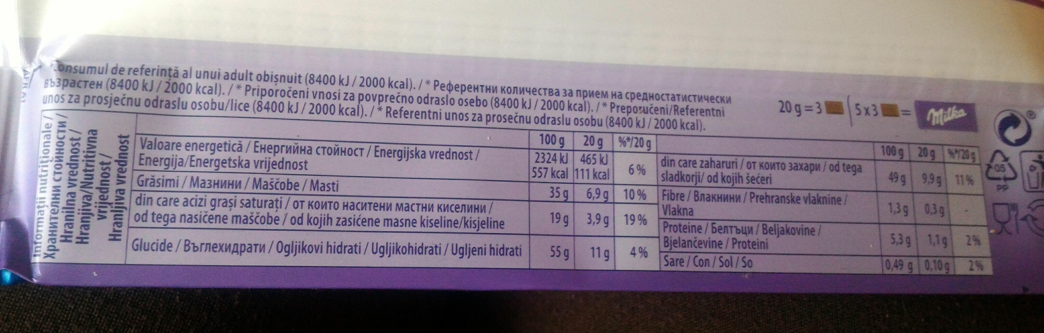 Milka Oreo - Informations nutritionnelles