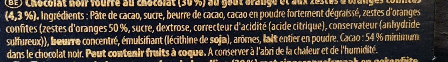 Tablette Dégustation Fin Noir Fin Orange - Ingredients