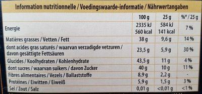 Tablette Dégustation Fin Noir Fin Orange - Nutrition facts