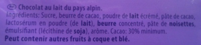 Milka au Lait du Pays Alpin - Ingrédients - fr