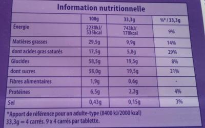 Milka au Lait du Pays Alpin - Informations nutritionnelles - fr