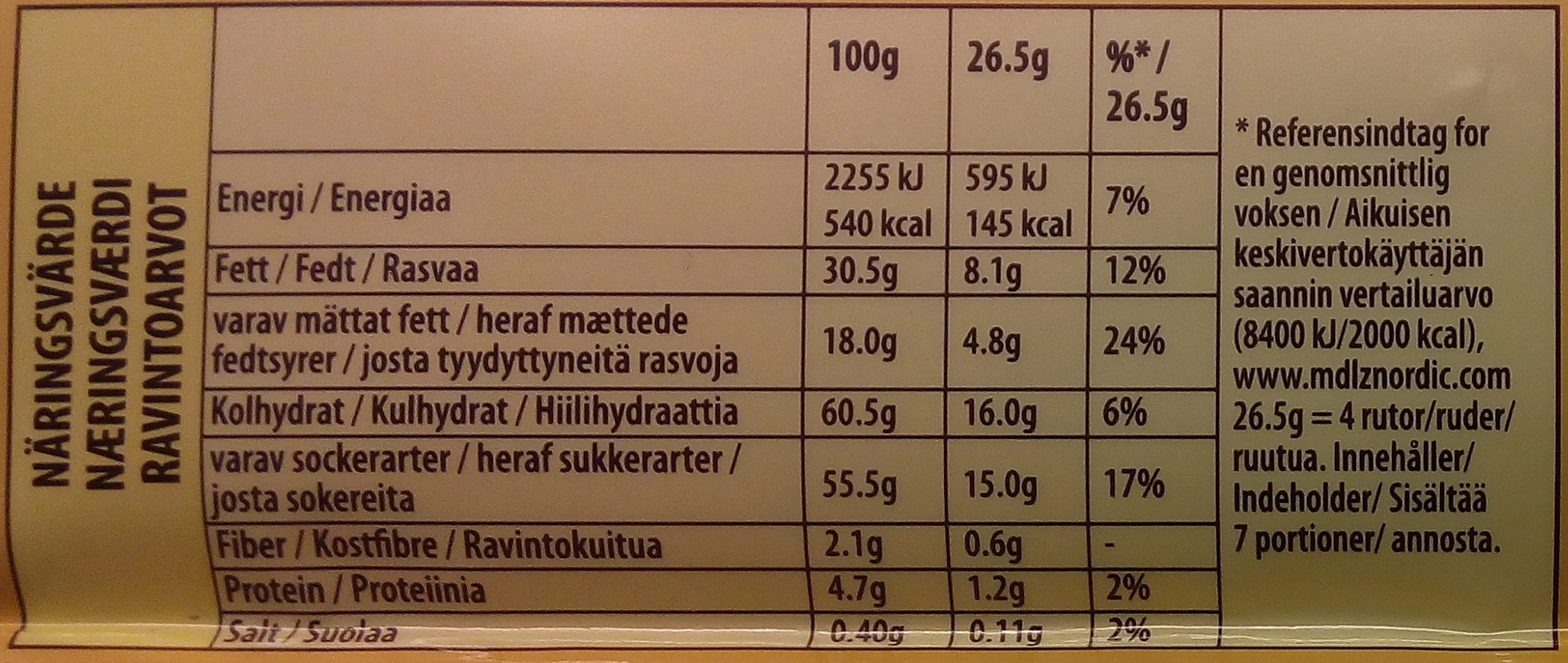 Mjölkchoklad Oreo Marabou - Nutrition facts