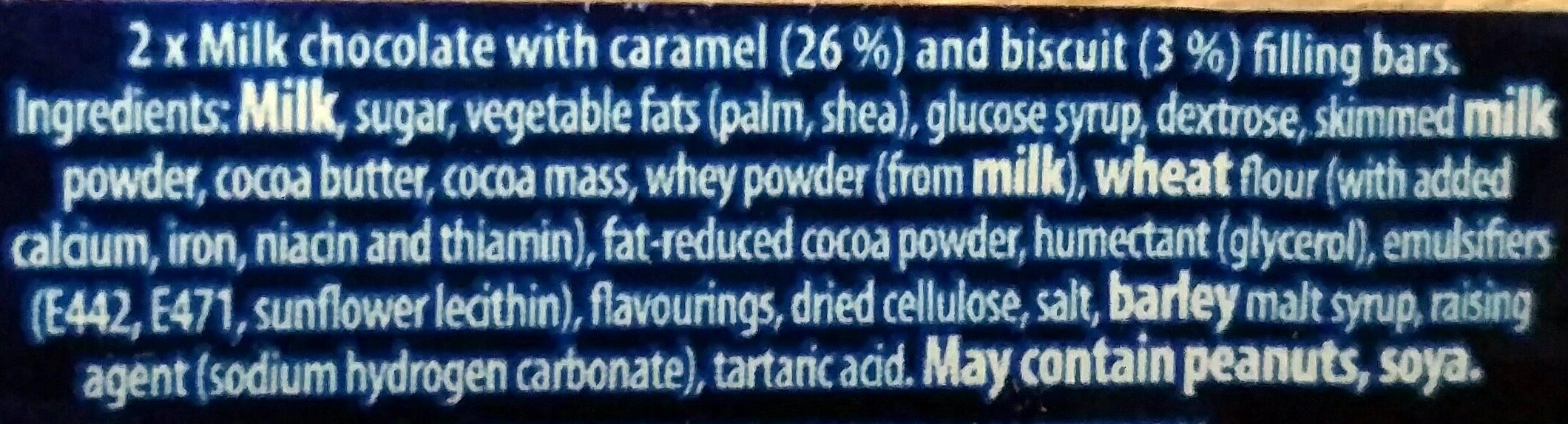 Cadbury Boost Duo - Ingredients