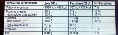 Napolitain signature chocolat - Informations nutritionnelles
