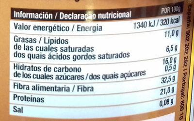 Cacao en polvo desgrasado - Información nutricional - es