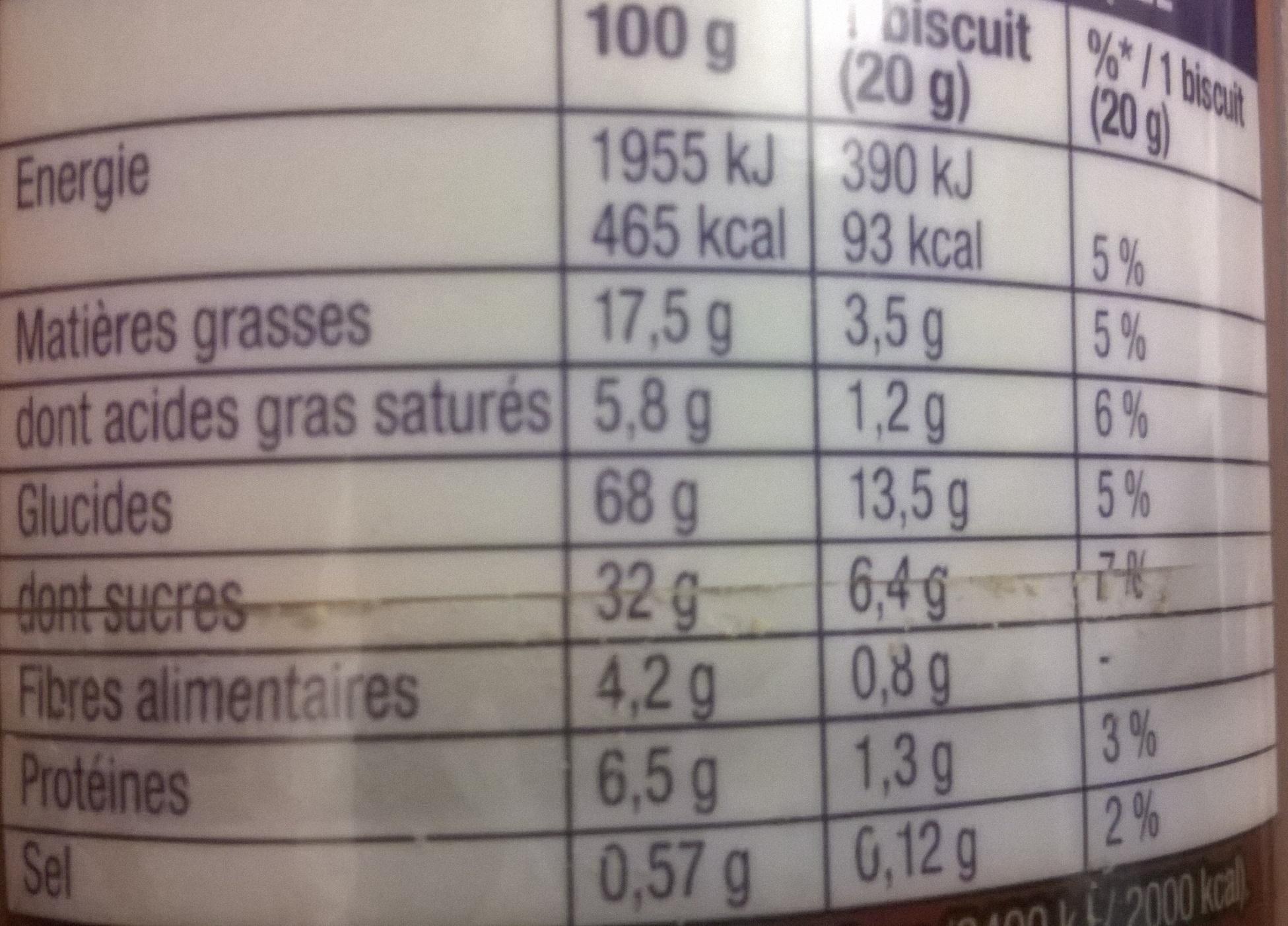 Prince goût Chocolat - Voedingswaarden - fr