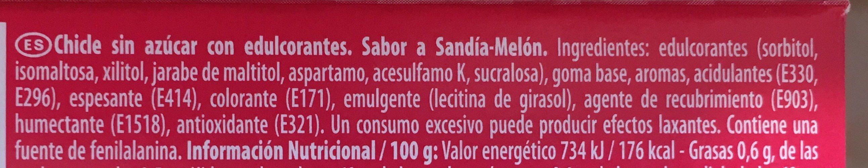 Trident - Sandía-melón - Ingrediënten