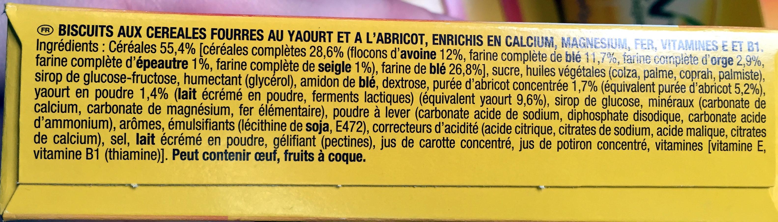 BelVita Petit Déjeuner Duo Fourré Abricot Yaourt & 5 céréales complètes - Ingrédients