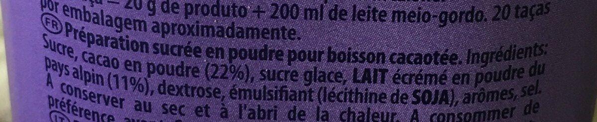 Au tendre goût chocolat - Ingrédients - fr