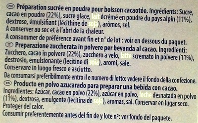 Milka Recette onctueuse au tendre gout chocolat - Ingredients