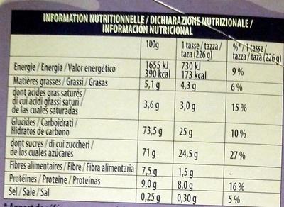 Milka Recette onctueuse au tendre gout chocolat - Información nutricional