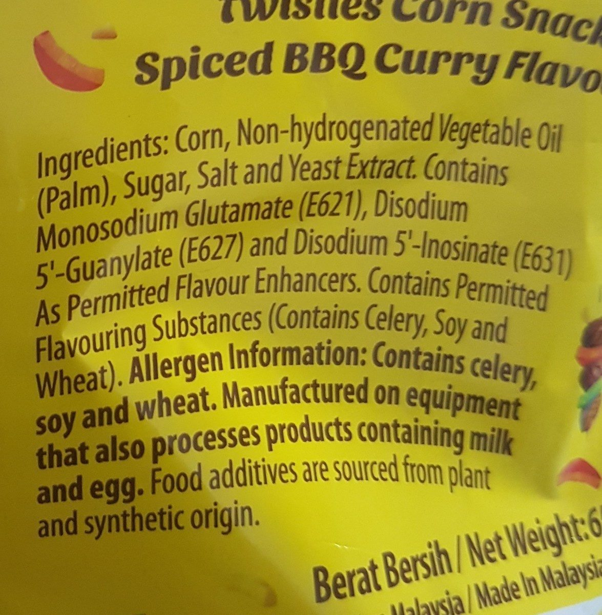 Twisties BBQ Curry Flavour - Ingrediënten