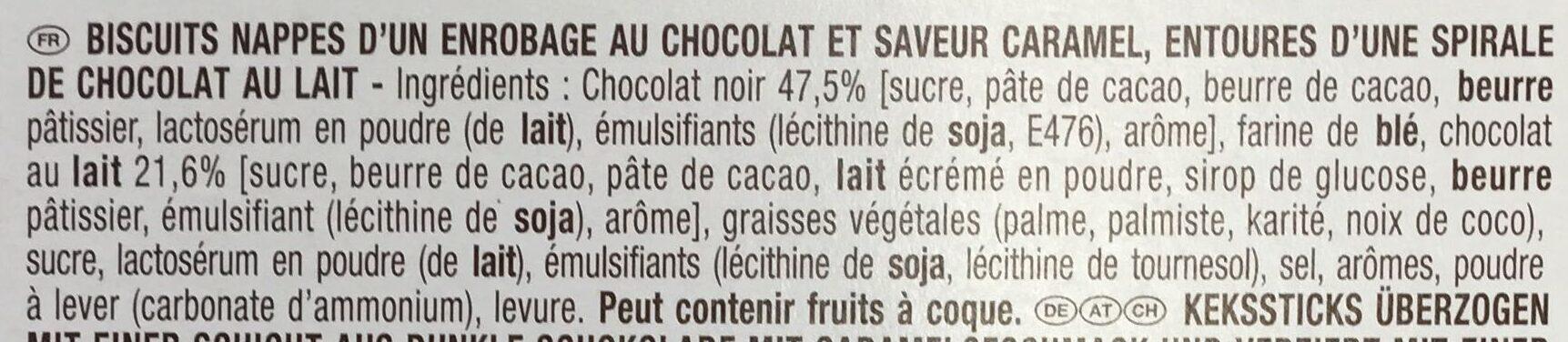 Mikado King Choco chocolat saveur Caramel - Ingrédients - fr
