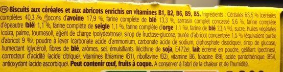 Belvita Crookie Abricots & 5 céréales complètes - Ingrédients