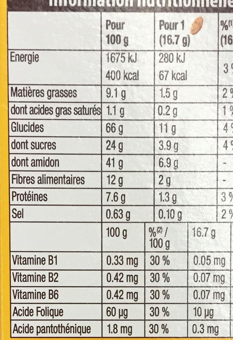 Belvita Crookie Abricots & 5 céréales complètes - Informations nutritionnelles