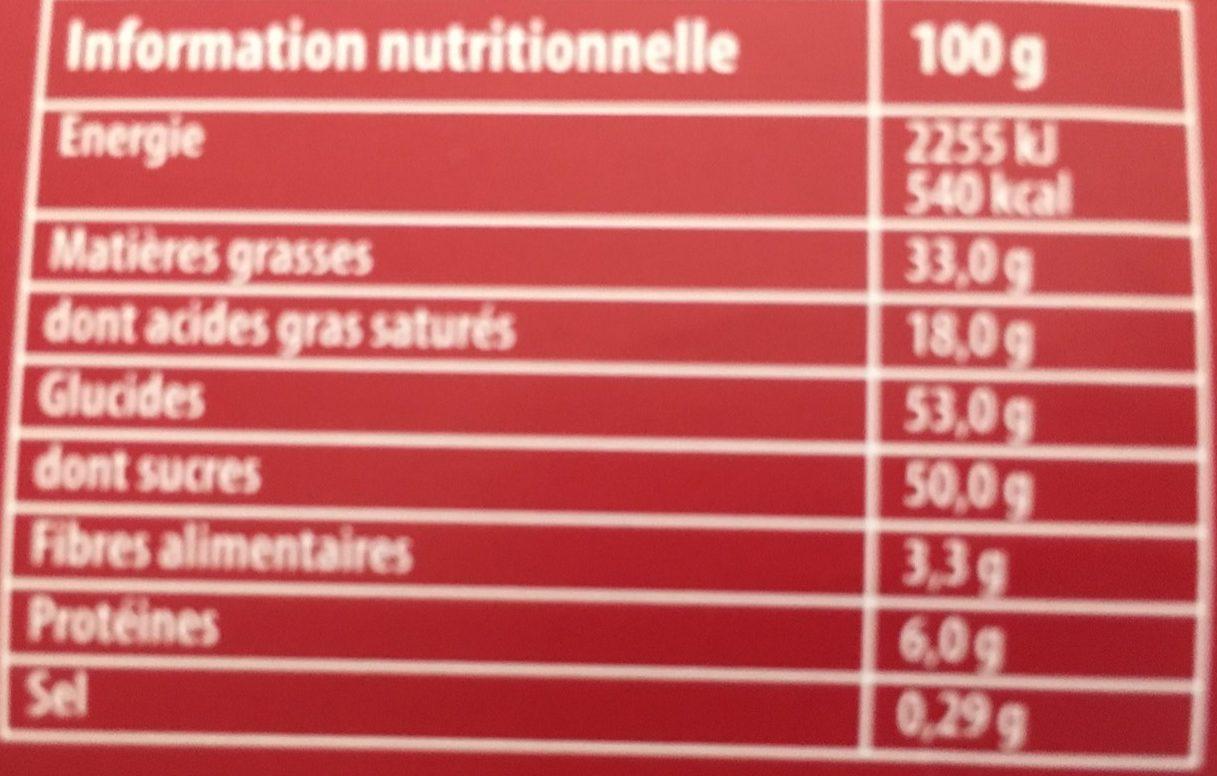 Marché de Noël - Cœurs fondants & Croustillants - Informations nutritionnelles - fr