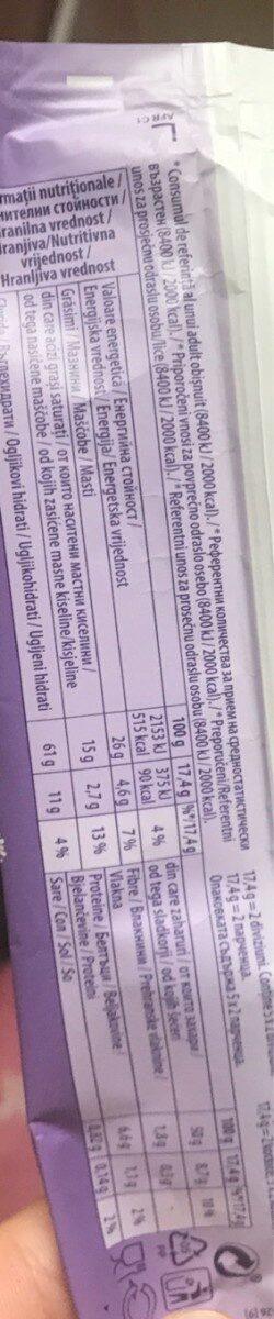 Milka tuc - Nutrition facts - en