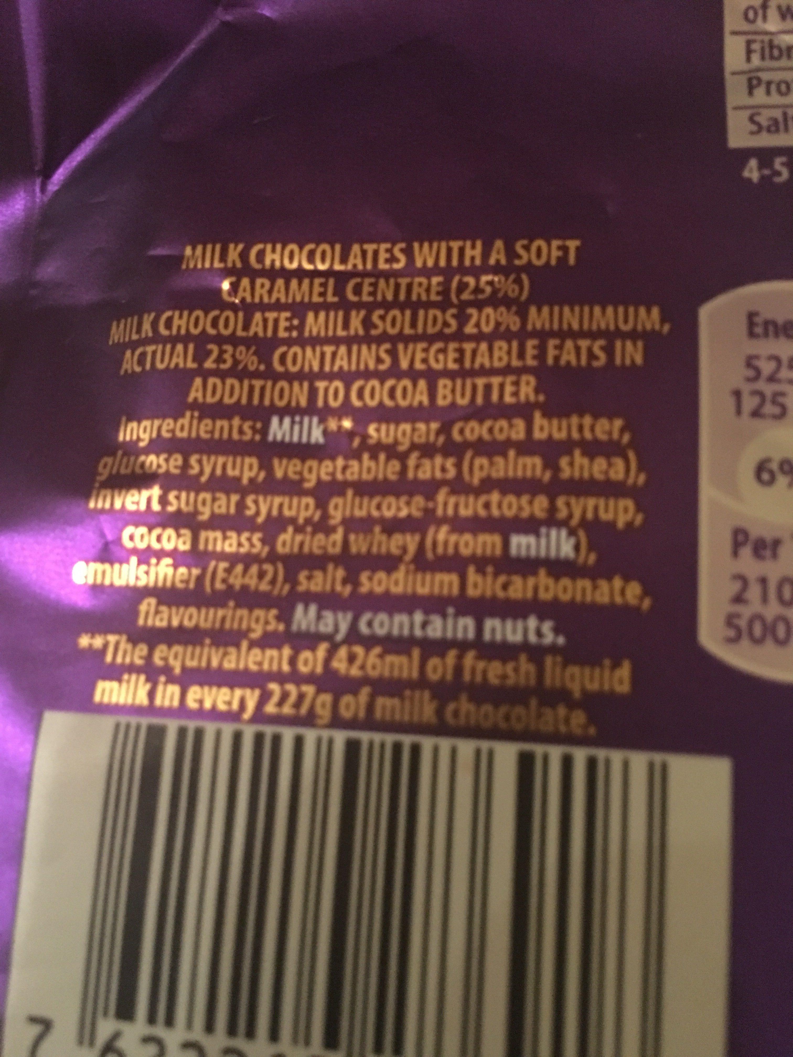 Cadbury dairy milk chocolate caramel nibbles - Ingredienti - en