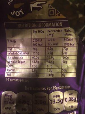 Cadbury dairy milk chocolate caramel nibbles - Valori nutrizionali - en