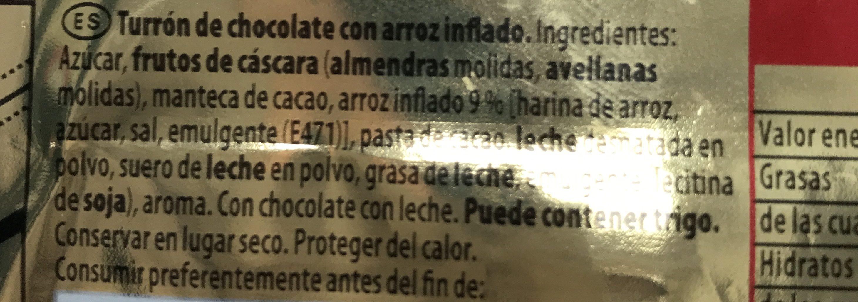 Turrón de chocolate crujiente clásico - Ingrédients