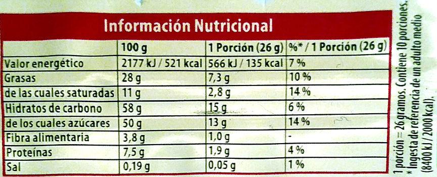 Turrón de chocolate crujiente clásico - Información nutricional