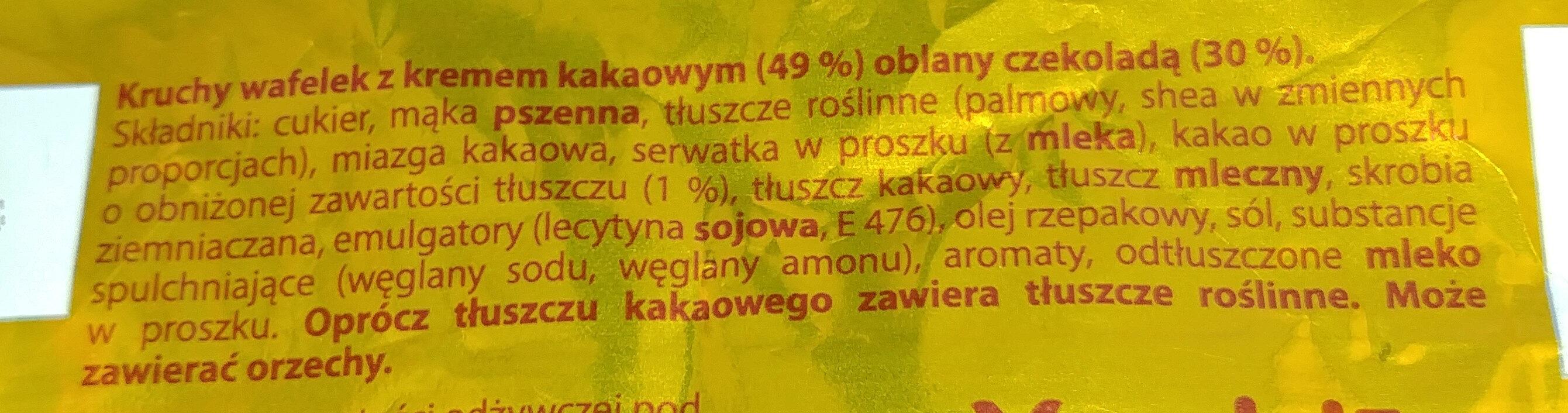 Kruchy wafelek z kremem kakaowym (49%) oblany czekoladą (30%) - Składniki - pl