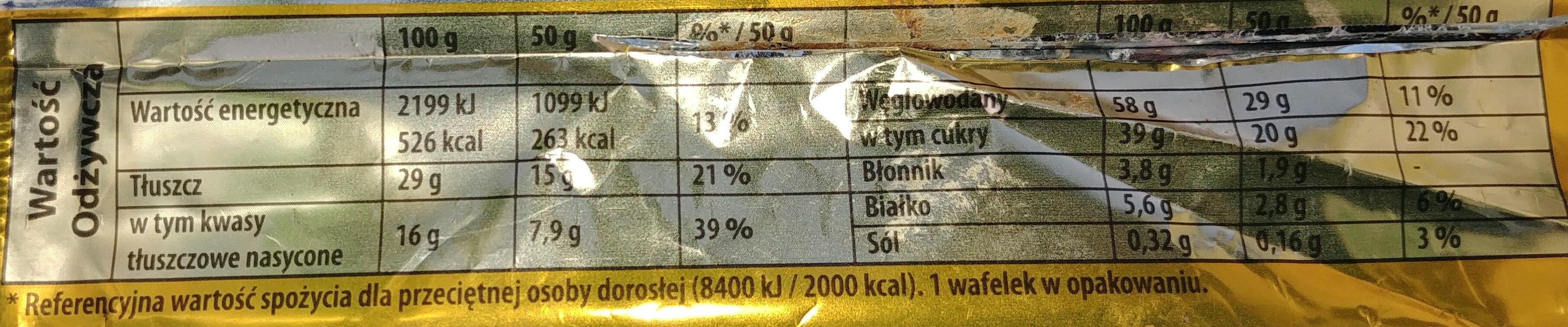 Kruchy wafelek z kremem kakaowym (49%) oblany czekoladą (30%) - Wartości odżywcze - pl