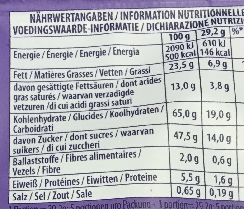 Milka Oreo Chocolate Nutrition