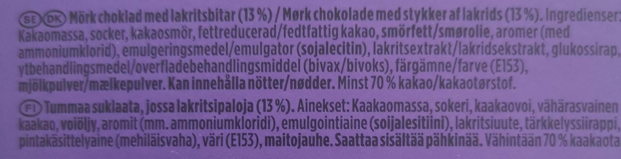 Marabou premium fin 70% - Ingrédients - fr