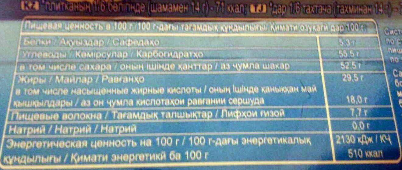 Воздушный Тёмный шоколад - Пищевая и энергетическая ценность - ru