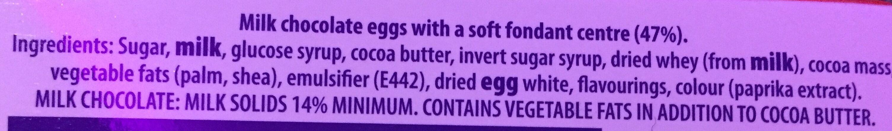 Cadbury Creme Eggs X5 - Ingrédients