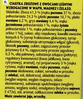 Ciasteczka zbożowe z owocami leśnymi wzbogacone w wapń, magnez i żelazo - Składniki - pl