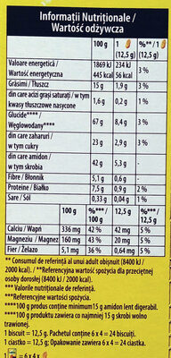 Ciasteczka zbożowe z owocami leśnymi wzbogacone w wapń, magnez i żelazo - Wartości odżywcze