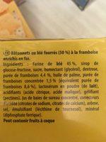 Bâtonnets de céréales à la framboise Cracotte - Ingrédients - fr