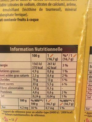 Bâtonnets de céréales à la framboise Cracotte - Informations nutritionnelles - fr