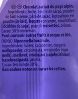 Au lait du Pays Alpin - Ingrediënten - fr